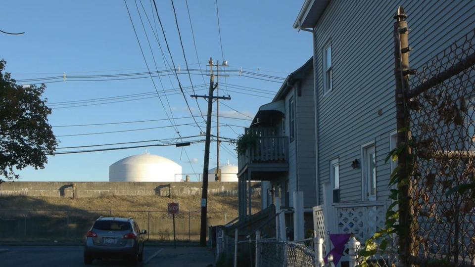 LNG storage tanks seen from Robin Street in the Lynde.